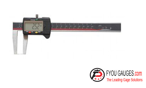 Digital Caliper with Flat Measuring Points for Outside Grooves